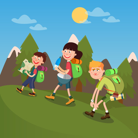 family hiking: Happy Family Hiking on the Mountains. Family Weekend. Vector illustration Illustration
