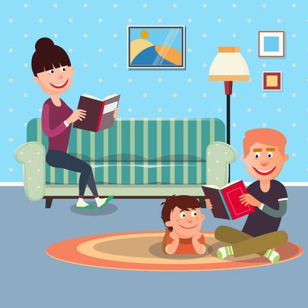 Père de lecture du livre à son Fils. Mère Livre de lecture. Vector illustration