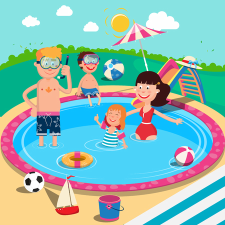 Happy Family in Swimming Pool. Smiling Parents and Children Having Fun on Summer Vacation. Vector illustration