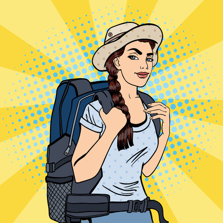 backpacker: Young Woman with Backpack. Female Tourist Backpacker. Pop Art. Vector illustration