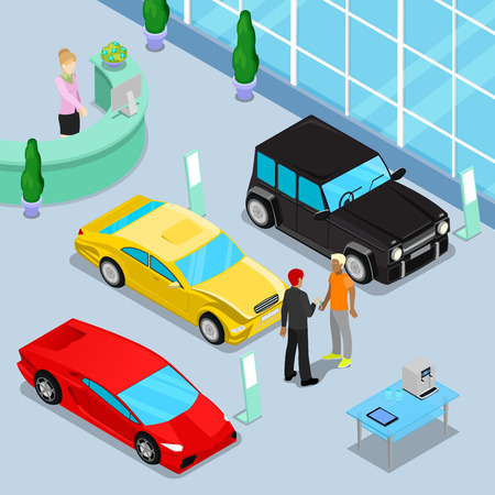 purchasing manager: Car Sales Showroom Interior with Offroad Car and Sport Cars. Customer Buying a New Car. Isometric Transport. Vector illustration