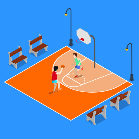 sporty: Isometric Basketball Playground. Sporty People Playing Basketball. Vector illustration