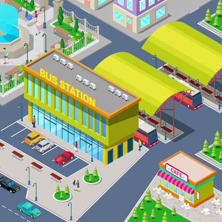 parking station: Isometric City Bus Station with Buses, Parking Area, Restaurant and Park. Vector illustration Illustration