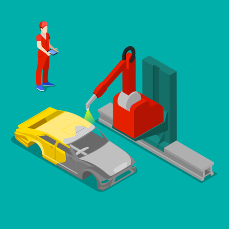 bodywork: Robot Painting Car Body in Automobile Factory. Isometric Transportation. Vector illustration