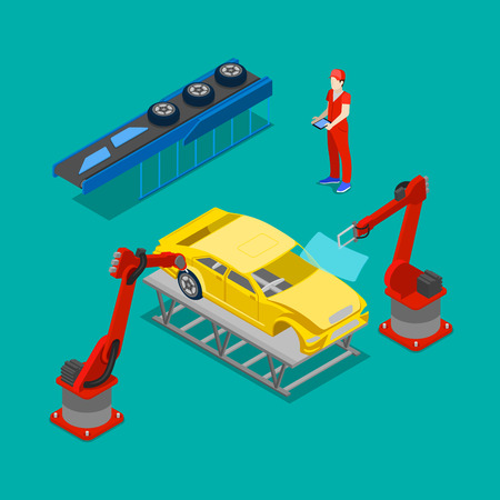 Isometric Car Production. Assembly Line of Car in Automobile Factory. Vector illustration