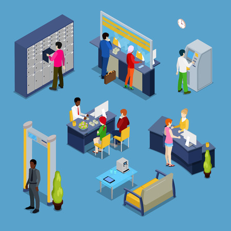 bank interior: Bank Services Concept. Bank Interior with Clients and Bankers. Isometric People. Vector illustration