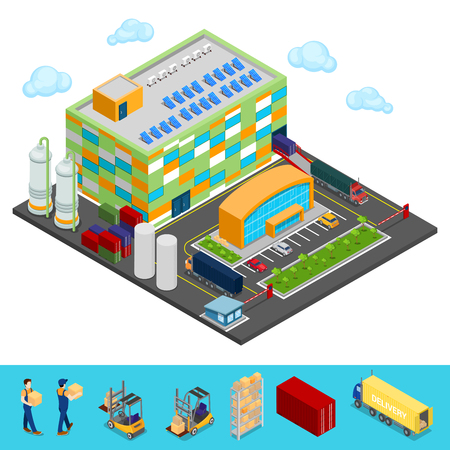 Isometric Warehouse Building with Industrial Shipping Area. Cargo Industry. Vector illustration