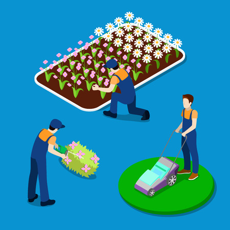 hedges: Gardener Trimming Plants. Garden Worker Using Lawn Mower. Isometric People. Vector illustration