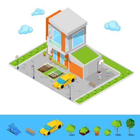 green roof: Modern Cottage House with Garage, Basketball Playground and Green Roof. Isometric Building. Vector illustration