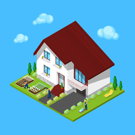 tree trimming: Modern Cottage House with Green Yard and Gardeners. Isometric Building. Vector illustration