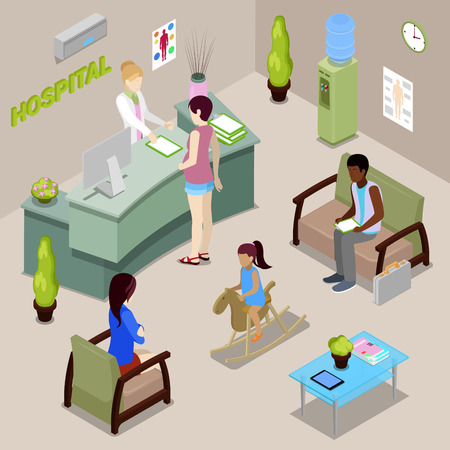 간호사와 환자와 병원 홀 인테리어입니다. 여자 리셉션에 가입합니다. 등각 투영 인. 벡터 일러스트 레이 션