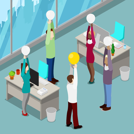 had: Isometric Business People. Office Workers with Light Bulbs. Man Had an Idea. Vector illustration