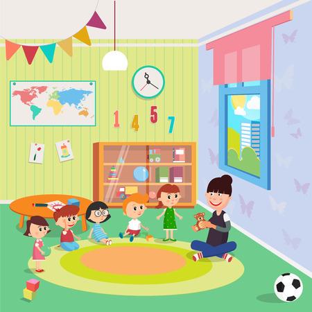 Kindergarden Interior. Girls and Boys Sitting Around the Teacher. Vector illustration