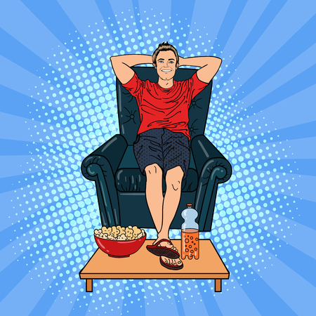 watching tv: Happy Man Watching TV on the Chair with Popcorn and Soda. Pop Art. Vector illustration Illustration