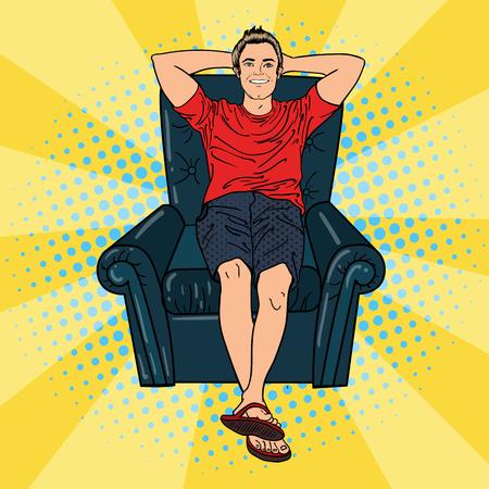 comfortable: Happy Man Relaxing in Comfortable Chair. Pop Art. Vector illustration
