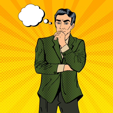 thoughtful: Thoughtful Businessman. Uncertainty in Decision Making. Pop Art. Vector illustration