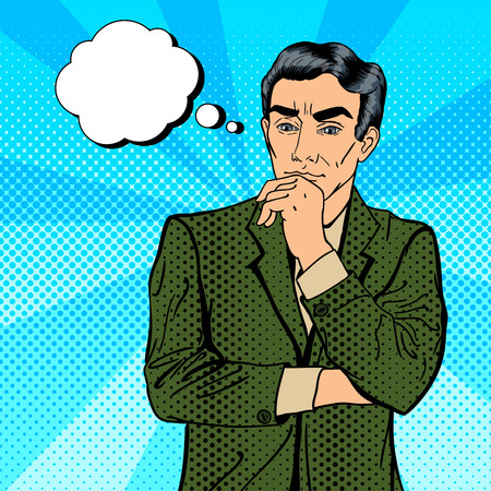 worried executive: Thoughtful Businessman. Uncertainty in Decision Making. Pop Art. Vector illustration