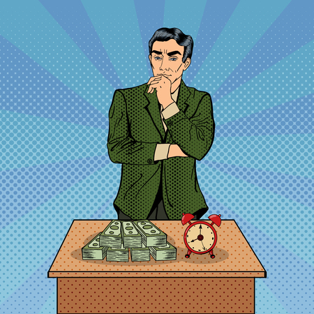 uncertain: Uncertain Businessman Standing at the Table with Alarm Clock and Money. Pop Art. Vector illustration