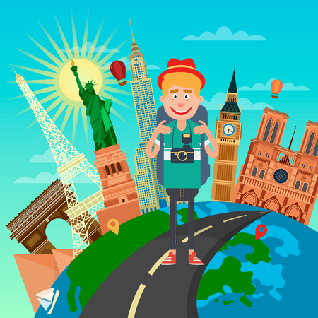 famous places: Tourist with Backpack and Camera Traveling Through the World Famous Places. Vector illustration