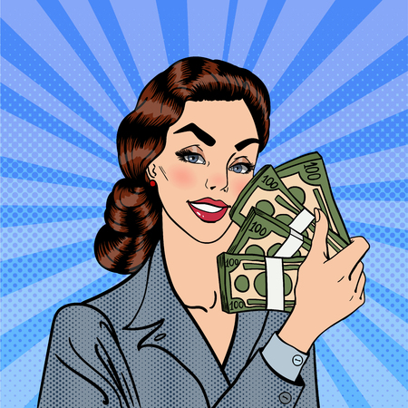 woman holding money: Excited Business Woman Holding Dollar Bills in her Hand. Smiling Woman with Money. Pop Art. Vector illustration