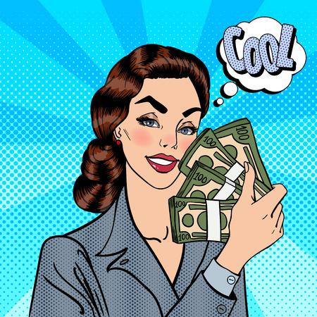 excited business woman: Excited Business Woman Holding Dollar Bills in her Hand. Smiling Woman with Money. Pop Art. Vector illustration