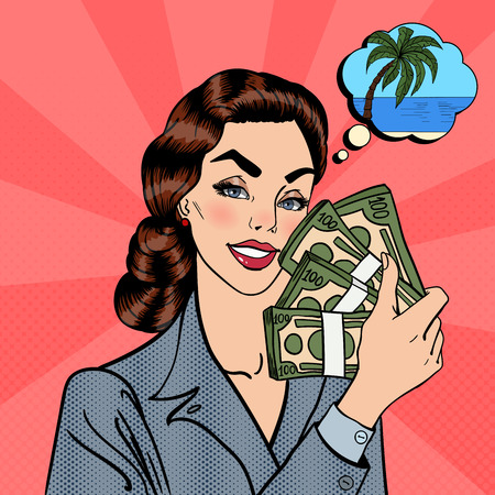 woman holding money: Excited Business Woman Holding Dollar Bills in her Hand. Woman with Money Dreaming about Tropical Vacation. Pop Art. Vector illustration