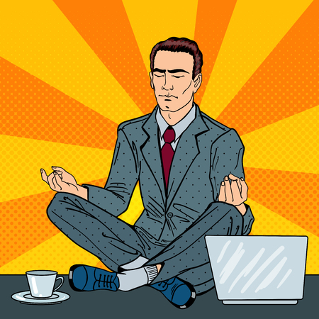 Businessman Relaxing and Meditating on the Office Table with Laptop. Pop Art. Vector illustration