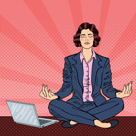 Business Woman Maditating on the Table with Laptop. Pop Art. Vector illustration Illustration