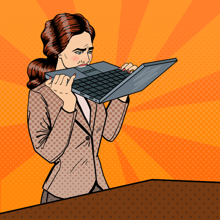 frustrated: Frustrated Stressed Business Woman Biting Laptop in Office. Pop Art. Vector illustration