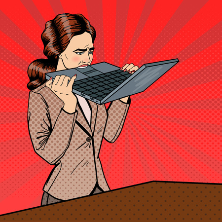 biting: Frustrated Stressed Business Woman Biting Laptop in Office. Pop Art. Vector illustration
