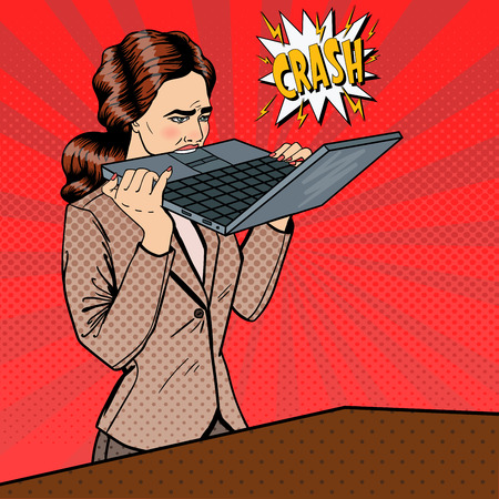 insane insanity: Frustrated Stressed Business Woman Biting Laptop in Office. Pop Art. Vector illustration