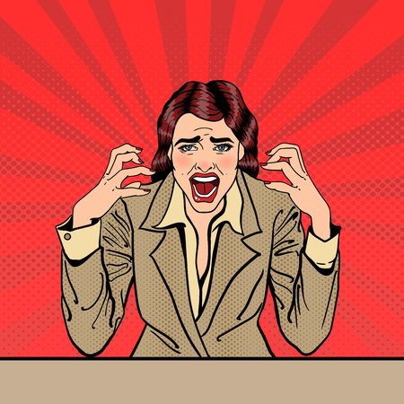 frustrated: Screaming Frustrated Business Woman with Help Sticker on her Head. Pop Art. Vector illustration Illustration