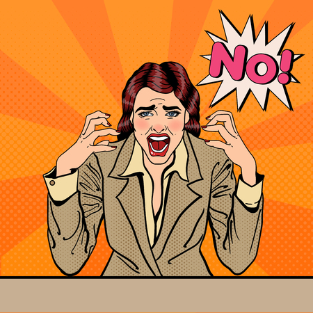 イライラ ストレス ビジネス女性叫んで号ポップアート。ベクトル図