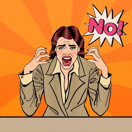 Gefrustreerd Benadrukt bedrijfs vrouw gillen No. Pop Art. vector illustratie Vector Illustratie