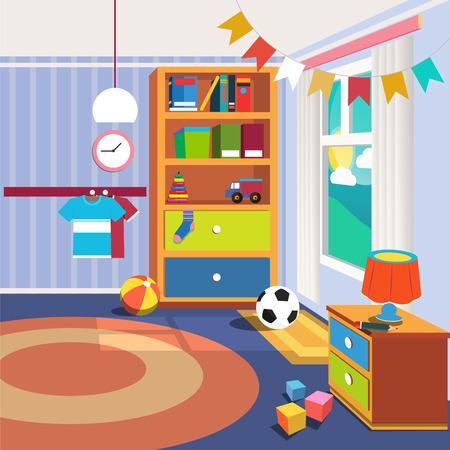 bedroom furniture: Children Bedroom Interior with Furniture and Toys. Vector illustration Illustration