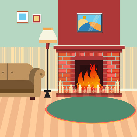 fireplace living room: Luxury Living Room Interior with Fireplace and Couch. Vector illustration