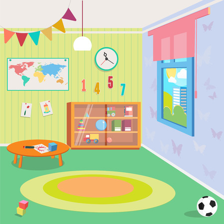 desk toy: Kindergarten Room Interior with Toys. Vector illustration