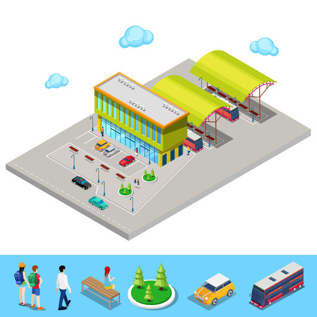 parking station: Isometric City Bus Station with Buses, Parking Area and People. Vector illustration