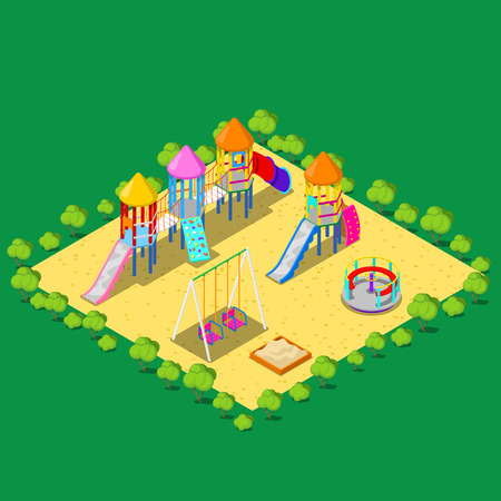 rope ladder: Isometric Children Playground with Sweengs, Carousel, Slide and Sandbox. Vector illustration