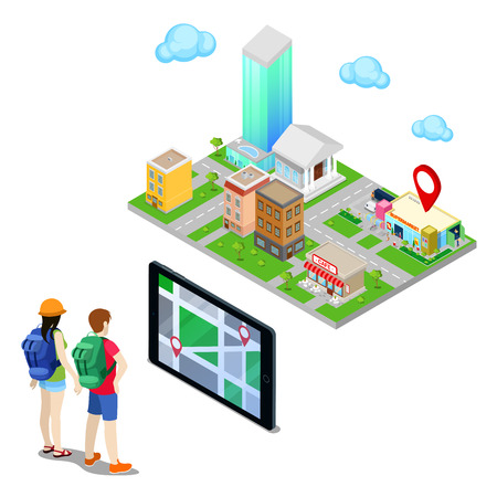 Isometric Mobile Navigation. Tourists Searching Supermarket in the City. Vector illustration