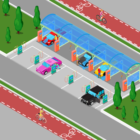 auto washing: Isometric Hand Car Wash with Vacuum Cleaners. Driver Washing Car. Vector illustration