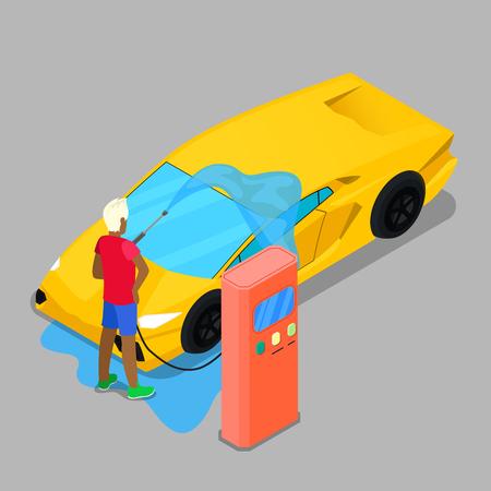 vehicle icon: Isometric Hand Car Wash. Driver Washing Car. Vector illustration