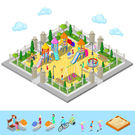 sandpit: Isometric Children Playground in the Park with People, Sweengs, Carousel, Slide and Sandbox. Vector illustration