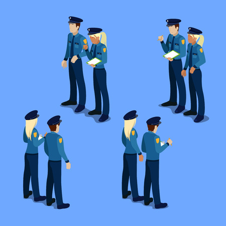policewoman: Isometric People. Policeman and Policewoman at Work. Vector illustration