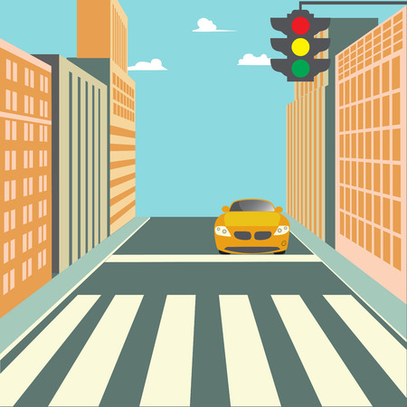 city scene: City Street with Buildings, Traffic Light, Crosswalk and Car. Vector background