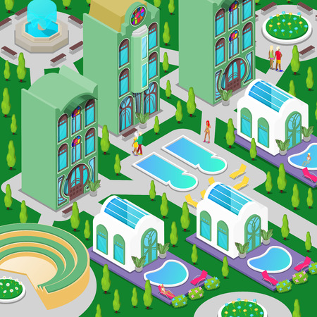 hotel pool: Isometric Luxury Hotel Building with Swimming Pool, Fountain and Green Garden. Vector illustration