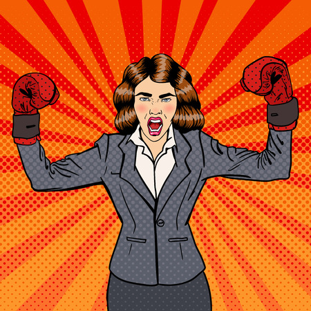 work gloves: Business Woman in Boxing Gloves Celebrating Success in Business. Pop Art. Vector illustration