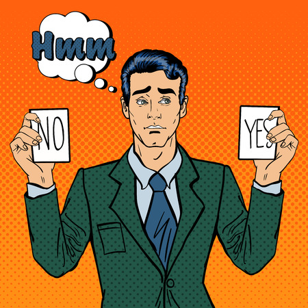 hesitation: Undecided Businessman Making Decision. Man Holding Cards Yes No. Pop Art. Vector illustration