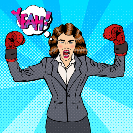 strong women: Business Woman in Boxing Gloves Celebrating Success in Business. Pop Art. Vector illustration