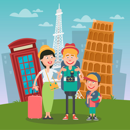 family holiday: Happy Family Travelling to Europe. Father, Mother and Son with Famous European Architecture. Vector illustration
